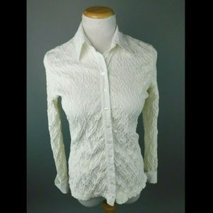 Anne Fontaine Anick Ivory Stretch Button Down Top